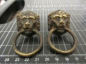 Vintage Pair Brass Plated Steel Lion Head Drop Ring Drawer Pulls - Salvaged