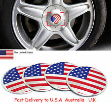 4X USA American Flag Auto Wheel Center Hub Caps Sticker Emblems FORD CHEVROLET