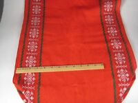 Table Runner 17 x 68 Inch Red Stitching Tassel Christmas Holiday Snowflake VTG