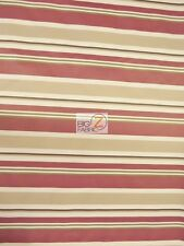 OXFORD STRIPE OUTDOOR CANVAS WATERPROOF FABRIC - Burgundy - BY THE YARD ANTI-UV