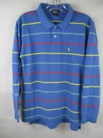 Polo by Ralph Lauren Boy's Size Large 16-18 Cotton Long Sleeve Blue Polo Shirt