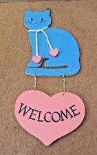 Wood Welcome Sign - Cut Out Cat with Wood Heart - Vintage