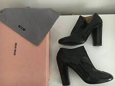 Beautiful Black Leather Miu Miu Ankle Boots 39.5