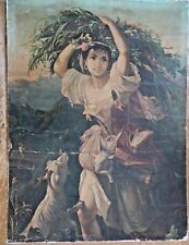 Antique Vintage  Shabby Chic Romantic Pastoral Print of Girl with Animals