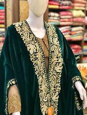 Green Velvet Cape, Paisley Design Woman Shawl, Green Velvet Embroidered Poncho