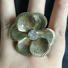 2pcs Free Shipping Crystals Fashion Flower bronze Party Rings Jewelry for Women