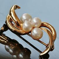 1950's Vintage handmade 14k yellow gold Akoya pearl pin brooch 3.5gr