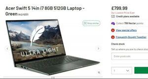 Acer Swift 5 SF514-55T 14 Inch ( 512GB SSD, Intel Core i7 11th Gen., 2.40GHz,...