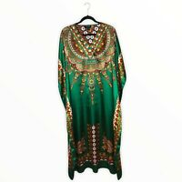 Ashro Kaftan Green Gold Dress, Short Sleeve, Satin Size One Size