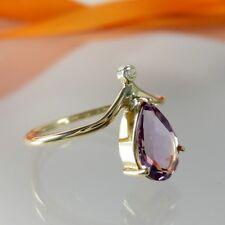 A757 Verlobung Ring 585 14K Gelbgold Schmuck mit Diamant und Amethyst Handarbeit