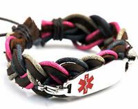 Medical ID Bracelet, Wristband, Steel ID Tag, Leather, Adult, Pink, Navy, Brown
