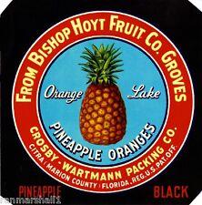 Citra Marion County Florida Pineapple Black Orange Fruit Crate Label Art Print