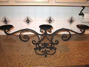 """34"""", Iron, Table Candelabra, Triple Candle Holder Transitional Old World Tuscan"""