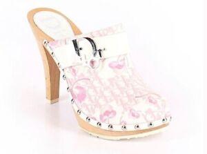 Christian DIOR Monogram Clogs Pink Patchwork Flower Mule Heels 37 US 7 orig box
