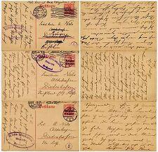 BELGIUM WW1 STATIONERY OCCUPN.OPTS...CENSORS 4 + 5 + 9 to NELS DIEDENHOFEN 1916