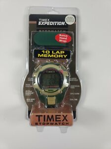 Vintage Timex Expedition Stopwatch; 10 Lap Memory; Indiglo; Water resistant 50m