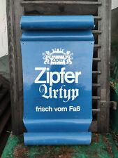 Blechschild Werbe Tafel Zipfer Bier Urtyp frisch vom Faß Brauerei Bierwerbung