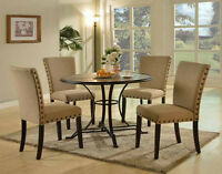 NEW 5PC CALVIN DRIFT WOOD POWDER BLACK METAL ROUND DINING or COUNTER  TABLE SET