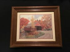 8x6 Coca-Cola Advertising Print  Covered Bridge With Trees in Autumn Framed