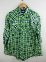 Wrangler Mens Vintage Shirt Size M Long Sleeve Button Up Embroidered Plaid