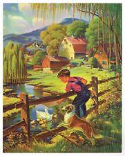 "ORIGINAL VINTAGE CALENDAR PRINT 1940S LITHOGRAPH FISHING NOS BOY & DOG 8X10"" 2"