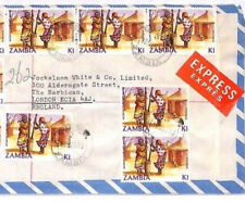 ZAMBIA Lusaka SPECTACULAR HIGH RATE Registered Express Cover London 1989 FF184