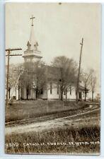 Catholic Church building, Fenton, Michigan; real photo postcard RPPC