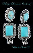 Navajo~Traditional~DONOVAN CADMAN~Kingman Turquoise~Stamped Design~925~Earrings