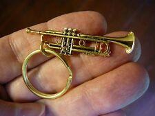 (M209-C) little Bach TRUMPET KEY CHAIN ring keys gold JEWELRY keychain vehicle