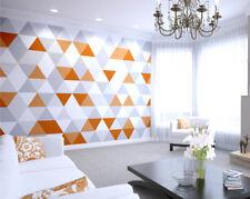 Bright Orange Geometric Orange Triangles Living Room Kitchen Wall Mural Wall Art