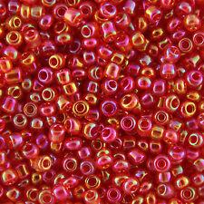 All' ingrosso 1kg rosso trasparenti arcobaleno in vetro SEMI PERLINE dimensione 6/0 4mm