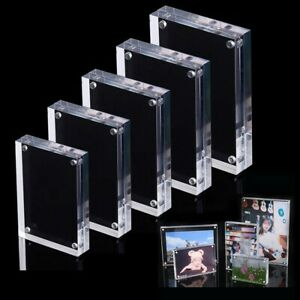 *Transparent Photo Frame Clear View Both Sided Magnetic Acrylic Block Picture ##