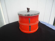 vintage retro 2 orange  metal cake & biscuit kitchen canisters chrome lid