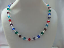 Multi Coloured Faceted Glass and Silver Bead Necklace