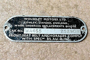 WOLSELEY CHASSIS / VIN PLATE, believed to be from a HORNET (Mini)