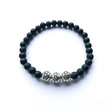 Lifestyle Handmade Edelstein Armband mit Onyx Perlen Naturstein Fashion Silber