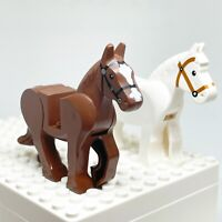 LEGO Minifigure Poseable White Brown Lot Of 2 Rearing Horses Western
