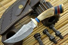 Custom Damascus Steel Hunting Knife Handmade With Stag Horn Handle (Z238)