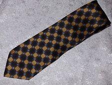 Kilburne and Finch Silk Tie Necktie Brown Gold Black Geometrical Pattern