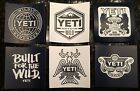 Authentic YETI Logo Decals Stickers Coolers Ramblers LOT of 6