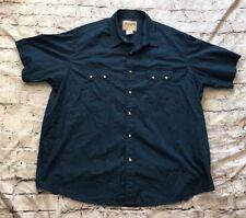 WRANGLER Men's Short Sleeve Blue Pearl Snap Shirt Size 2XL