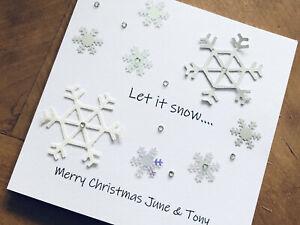 Personalised Handmade Christmas Cards - Snowflakes 13.5cm X 13.5cm
