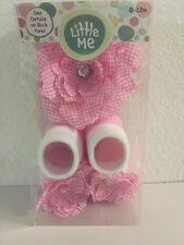 NEW Little Me Pink Gingham Infant Girl Flower Headwrap Booties Hair Bows 0-12mon