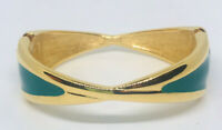 Signed MONET Bangle Bracelet Green Enamel Bow Tie Shape Vintage Jewelry