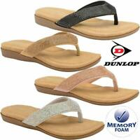 Ladies Memory Foam Low Wedge Walking Toe Post Summer Strappy Flip Flop Sandals