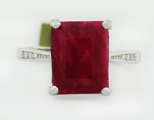 GENUINE 3.79 Cts RUBY & WHITE SAPPHIRE RING .925 Sterling Silver * NWT Size 6