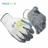 5 x Nylon Nitrile Coat Gloves Palm Heavy Duty Work Metal Handling XL