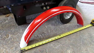 "Antique Vintage Schwinn Bicycle 24"" 24x3 Red & White Pin Stripe Front Fender (M)"