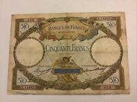 Banque De France. France Banknote. 50 Francs. Dated 1934. French Vintage Note.