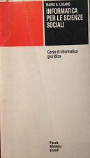 LOSANO, INFORMATICA PER LE SCIENZE SOCIALI, EINAUDI COLL. PBE